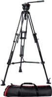 Manfrotto 504HD,546BK 2-Stage Mid-Level Spreader Aluminum Pro Video Tripod Kit
